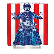 Patriotic Cycle Rider Shower Curtain by Gary Grayson