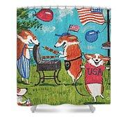 Patriotic Pups Shower Curtain by Margaryta Yermolayeva