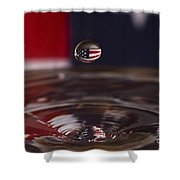 Patriotic Water Drop Shower Curtain by Anthony Sacco