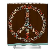Peace Symbol Retro - 0103b  Shower Curtain by Variance Collections