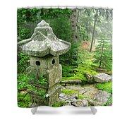 Peaceful Japanese Garden On Mount Desert Island Shower Curtain by Edward Fielding