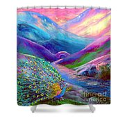 Peacock Magic Shower Curtain by Jane Small