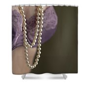Pearl Necklace Shower Curtain by Lee Avison