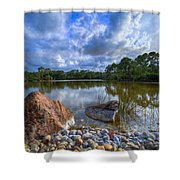 Pebble Beach Shower Curtain by Debra and Dave Vanderlaan