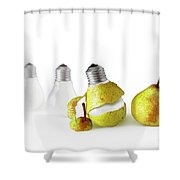 Peeled Bulb Shower Curtain by Carlos Caetano