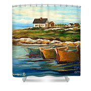 Peggys Cove With Fishing Boats Shower Curtain by Carole Spandau