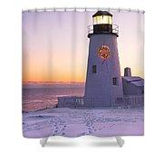 Pemaquid Point Lighthouse Christmas Snow Wreath Maine Shower Curtain by Keith Webber Jr