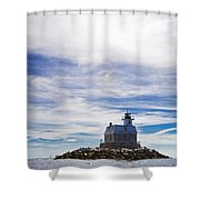Penfield Reef Lighthouse Fairfield Connecticut Shower Curtain by Stephanie McDowell