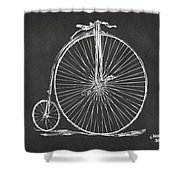 Penny-farthing 1867 High Wheeler Bicycle Patent - Gray Shower Curtain by Nikki Marie Smith
