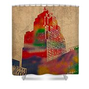 Penobscot Building Iconic Buildings Of Detroit Watercolor On Worn Canvas Series Number 5 Shower Curtain by Design Turnpike