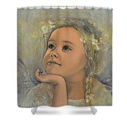 Pensive - Angel 22 Shower Curtain by Dorina  Costras