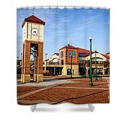 Peoria Illinois Riverfront Businesses And Clock Tower Shower Curtain by Paul Velgos