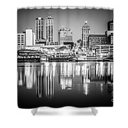 Peoria Illinois Skyline At Night In Black And White Shower Curtain by Paul Velgos