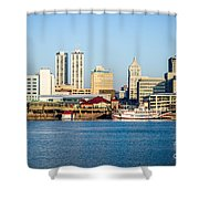 Peoria Skyline And Downtown City Buildings Shower Curtain by Paul Velgos