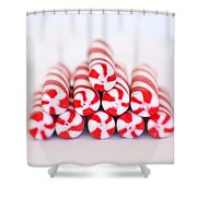 Peppermint Twist - Candy Canes Shower Curtain by Kim Hojnacki