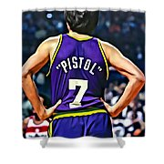 Pete Maravich Shower Curtain by Florian Rodarte
