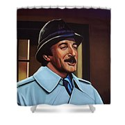 Peter Sellers As Inspector Clouseau  Shower Curtain by Paul Meijering