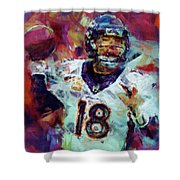 Peyton Manning Abstract 6 Shower Curtain by David G Paul