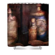 Pharmacist - Medicine For Diarrhea And Burns  Shower Curtain by Mike Savad