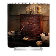 Pharmacist - Organizing Powder Shower Curtain by Mike Savad