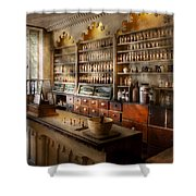 Pharmacist - The Dispensatory Shower Curtain by Mike Savad
