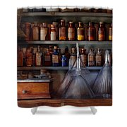 Pharmacy - Master Of Many Trades  Shower Curtain by Mike Savad