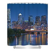 Phila Pa Night Skyline Reflections Center City Schuylkill River Shower Curtain by David Zanzinger