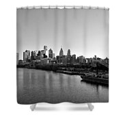 Philadelphia Black And White Shower Curtain by Bill Cannon