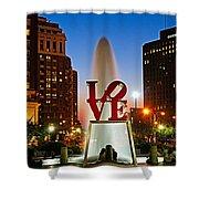Philadelphia Love Park Shower Curtain by Nick Zelinsky