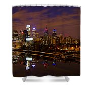 Philadelphia On The Schuylkill At Night Shower Curtain by Bill Cannon