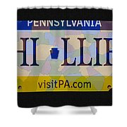 Phillies License Plate Map Shower Curtain by Bill Cannon