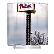 Phillies Stadium Sign Shower Curtain by Bill Cannon