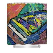 Piano Blue Shower Curtain by Anita Burgermeister