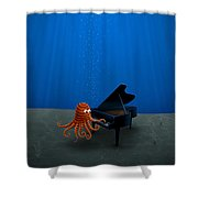 Piano Playing Octopus Shower Curtain by Gianfranco Weiss