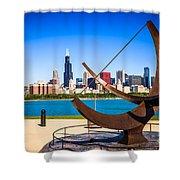 Picture Of Chicago Adler Planetarium Sundial Shower Curtain by Paul Velgos