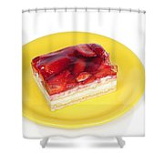 Piece of strawberry cake Shower Curtain by Matthias Hauser