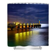 Pier at Night Shower Curtain by Carlos Caetano