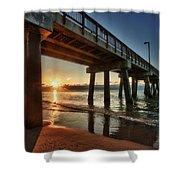 Pier Sunrise Shower Curtain by Michael Thomas