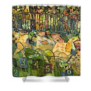 Pig Racing In Belturbet Ireland Shower Curtain by Jen Norton