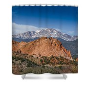 Pikes Peak Behind Garden Of The Gods Shower Curtain by Ernie Echols