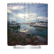 Pinhole Oceanside Harbor Shower Curtain by Hugh Smith