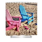 Pink And Blue Beach Chairs With Matching Flip Flops Shower Curtain by Michael Thomas