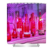 Pink And Red Bottles Shower Curtain by Kaye Menner