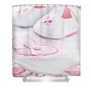 Pink baby girl clothes Shower Curtain by Elena Elisseeva