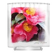 Pink Camellia. Elegant Knickknacks Shower Curtain by Jenny Rainbow