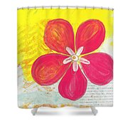 Pink Cherry Blossom Shower Curtain by Linda Woods