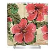 Pink Hibiscus Shower Curtain by Debbie DeWitt