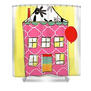 Pink House Shower Curtain by Linda Woods