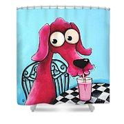 Pink Milk Shower Curtain by Lucia Stewart
