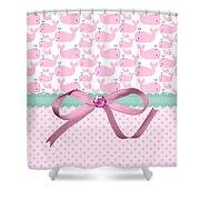 Pink Whales Shower Curtain by Debra  Miller